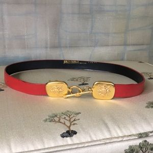Vintage Ben-Amun Red Leather Belt Gold Tone Buckle
